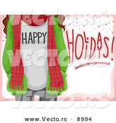 Cartoon Vector of Happy Holidays Girl with a Scarf over Pink Card by BNP Design Studio