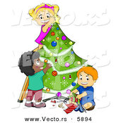 Cartoon Vector of Happy Kids Decorating a Christmas Tree Together by BNP Design Studio