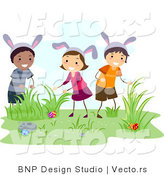 Cartoon Vector of Happy Kids Hunting for Hidden Easter Eggs by BNP Design Studio