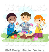 Cartoon Vector of Happy Kids Painting Eater Eggs Outside by BNP Design Studio