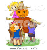Cartoon Vector of Happy Kids Playing by a Scarecrow by BNP Design Studio