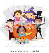 Cartoon Vector of Happy Kids Wearing Halloween Costumes Around a Giant Candy Pumpkin by BNP Design Studio