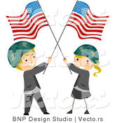 Cartoon Vector of Happy Memorial Day Kids Wearing Helmets and Holding American Flags by BNP Design Studio