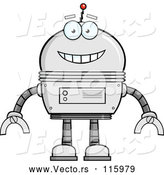 Cartoon Vector of Happy Metal Robot by Hit Toon
