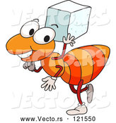 Cartoon Vector of Happy Orange Ant Carrying a Sugar Cube by Graphics RF