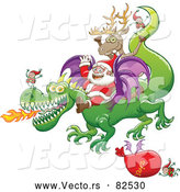 Cartoon Vector of Happy Santa Delivering Gifts by Dragon This Year by Zooco