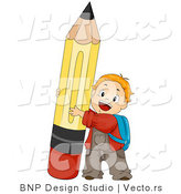 Cartoon Vector of Happy School Boy Hugging Big Pencil by BNP Design Studio