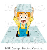 Cartoon Vector of Happy School Boy Jumping with Book by BNP Design Studio