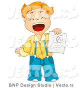 Cartoon Vector of Happy School Boy with a Plus Report Card by BNP Design Studio