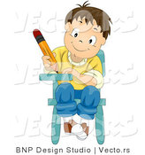 Cartoon Vector of Happy School Boy Writing While Seated at Desk by BNP Design Studio