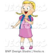 Cartoon Vector of Happy School Girl Pointing at Something by BNP Design Studio
