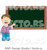 Cartoon Vector of Happy Smart School Boy Smiling in Front of Blank Chalk Board by BNP Design Studio