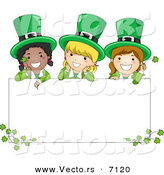 Cartoon Vector of Happy St. Patrick's Day Leprechaun Girls Standing Behind a Blank Sign with Clovers by BNP Design Studio