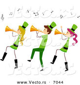 Cartoon Vector of Happy St. Patrick's Day People Playing Music with Trumpets by BNP Design Studio