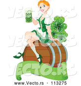 Cartoon Vector of Happy Strawberry Blond Beer Maiden Woman Sitting on a Keg Barrel and Holding a Cup of Green St Patricks Day Alcohol over a Blank Banner with Magical Shamrock Clovers by Pushkin