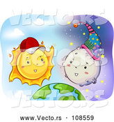 Cartoon Vector of Happy Sun Wearing a Baseball Cap and Talking to the Moon over Earth by BNP Design Studio