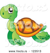 Cartoon Vector of Happy Swimming Sea Turtle by Visekart
