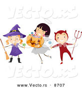 Cartoon Vector of Happy Witch, Angel, and Devil Kids Playing on Halloween by BNP Design Studio