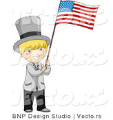 Cartoon Vector of Independence Day Boy Waving American USA Flag by BNP Design Studio