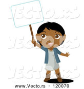 Cartoon Vector of Indian Girl Holding up a Blank Sign by Rosie Piter
