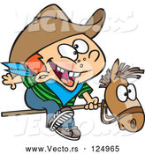 Cartoon Vector of Kid Cowboy Riding a Stick Pony by Toonaday