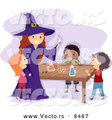 Cartoon Vector of Kids and a Witch Making a Potion on Halloween by BNP Design Studio