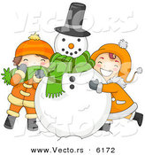 Cartoon Vector of Kids Hugging a Snowman on Christmas by BNP Design Studio