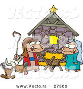 Cartoon Vector of Kids Playing Religious Nativity Scene with Dog by Toonaday