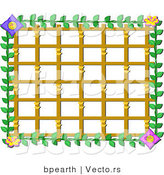 Cartoon Vector of Lattice Frame with Asian Flowers Border by Bpearth