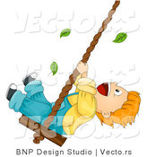 Cartoon Vector of Leaves Falling Around Happy Boy Swinging on a Rope with Wood Seat by BNP Design Studio