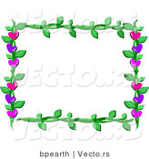 Cartoon Vector of Lover Hearts and Vines Frame Border Design by Bpearth