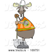 Cartoon Vector of Moose Contractor Holding a Shovel and Wearing a Safety Vest by Djart