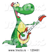 Cartoon Vector of Musical Green Dinosaur Rockin out with a Guitar During a Music Concert by Hit Toon