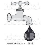 Cartoon Vector of Oil Drop Leaking from a Faucet by Hit Toon