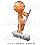 Cartoon Vector of Orange Guy Janitor Cleaning with a Push Broom by Leo Blanchette