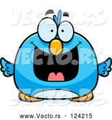 Cartoon Vector of Pudgy Grinning Blue Bird by Cory Thoman