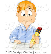 Cartoon Vector of Red Hair School Boy Writing on Paper with Pencil by BNP Design Studio
