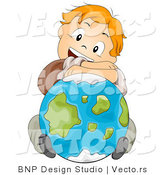 Cartoon Vector of Red Haired School Boy Resting His Arms and Head on a Globe by BNP Design Studio