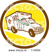 Cartoon Vector of Retro Ambulance Driver Waving in a Brown White and Yellow Circle by Patrimonio