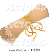 Cartoon Vector of Rolled up Old Scroll Tied with a Ribbon by Visekart