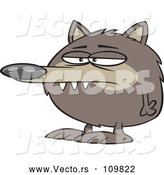 Cartoon Vector of Round Fuzz Ball Wolf or Dog by Toonaday