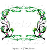 Cartoon Vector of Rounded Floral Tattoo Vines Frame Border by Bpearth