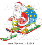 Cartoon Vector of Santa Delivering Presents on Snow Sled by Alex Bannykh