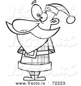 Cartoon Vector of Santa in a Plaid Suit - Outlined Version by Toonaday