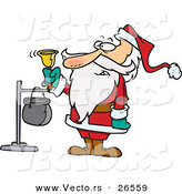 Cartoon Vector of Santa Ringing Charity Bell by Toonaday