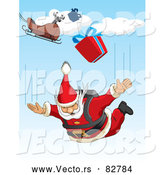 Cartoon Vector of Santa Sky Diving with Presents from His Sleigh by David Rey