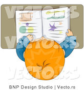 Cartoon Vector of School Boy Reading Book at His Desk by BNP Design Studio