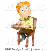 Cartoon Vector of School Boy Sitting at His Desk While Thinking by BNP Design Studio