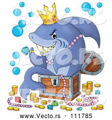 Cartoon Vector of Shark Sitting in a Treasure Chest and Surrounded by Booty by Visekart