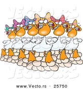 Cartoon Vector of Six Geese a Laying on Christmas by Toonaday